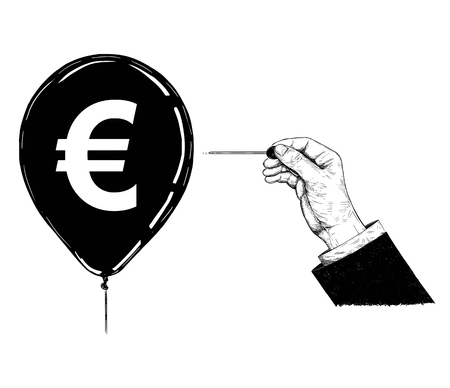 Cartoon drawing conceptual illustration of hand of businessman with needle or pin popping Euro currency symbol balloon. Vector Illustratie