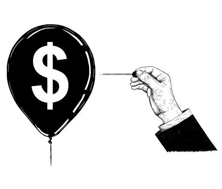 Dibujos animados de dibujo ilustración conceptual de la mano del empresario con aguja o alfiler haciendo estallar el globo de símbolo de moneda de dólar.