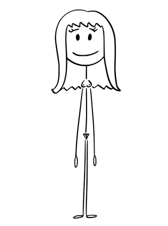 Cartoon stick figure drawing conceptual illustration of front of naked or nude woman standing and smiling.