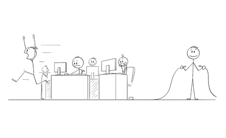 Cartoon stick figure drawing conceptual illustration of group of crazy businessmen or office workers in panic, another man is holding unplugged Internet network or electric power cable. Ilustração