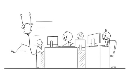 Cartoon stick figure drawing conceptual illustration of group of crazy businessmen or office workers in panic because of crisis or something they see in computers.