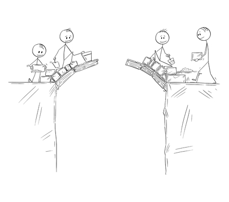 Cartoon stick figure drawing conceptual illustration of two groups of men or businessmen building bridge together to connect with other side. business concept of cooperation.