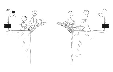 Cartoon stick figure drawing conceptual illustration of two groups of men or businessmen building bridge together to connect with other side. Leaders or politicians are waiting do make a deal. Vectores
