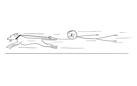 Cartoon stick figure drawing conceptual illustration of man holding running dog on the leash and flying or waving behind the animal.