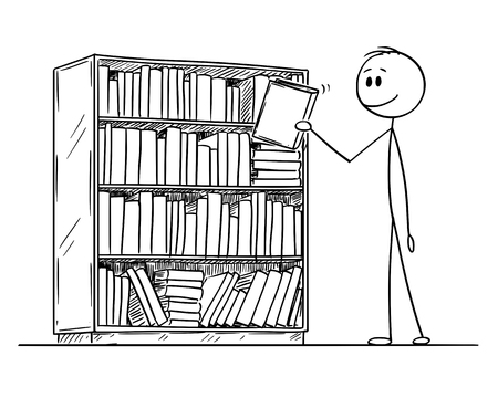 Cartoon stick figure drawing conceptual illustration of man or reader taking book from book case. Concept of education. Stock Illustratie