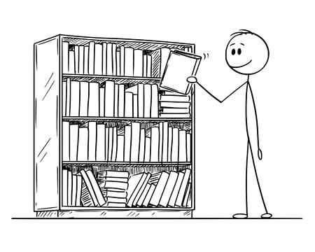 Figura del bastone del fumetto che disegna l'illustrazione concettuale dell'uomo o del lettore che prende il libro dalla cassa del libro. Concetto di educazione.