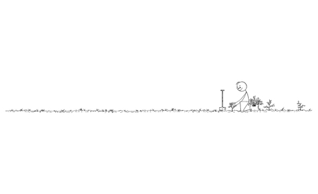 Cartoon stick figure drawing conceptual illustration of man planting small trees as forest for future, nature, environmental and ecology concept.Long horizontal graphic or design element.
