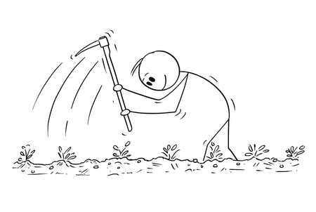 Cartoon stick figure drawing conceptual illustration of poor farmer enjoying hard working with hoe on the field. Illustration