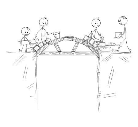 Cartoon stick figure dibujo ilustración conceptual de un grupo de constructores o trabajadores o empresarios que trabajan y construyen un puente sobre el abismo o precipicio. Concepto de trabajo en equipo y solución de problemas.