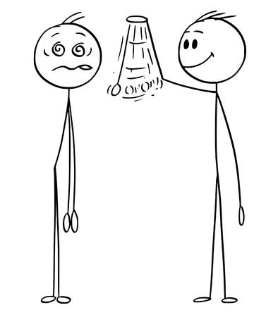 Figura de palo de dibujos animados dibujo ilustración conceptual del hipnotizador o psicólogo hipnotizar al hombre o al paciente. Concepto de hipnosis.