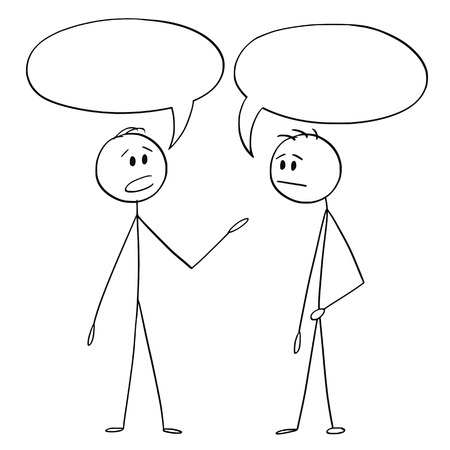 Cartoon stick figure drawing conceptual illustration of two men or businessmen talking with empty or blank text or speech bubbles or balloons above.