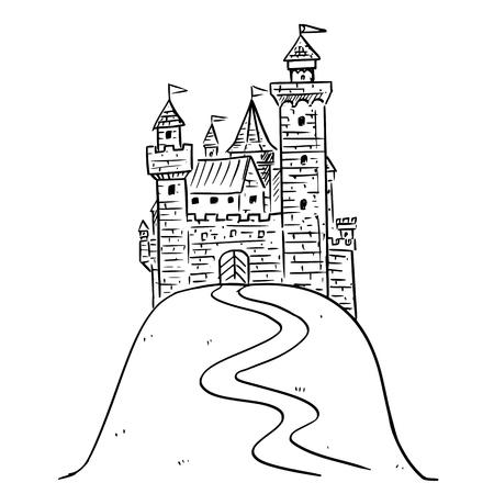 Ilustración de dibujos animados en blanco y negro o dibujo de castillo medieval de fantasía en la colina.