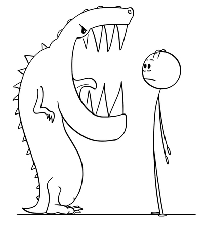 Cartoon stick figure drawing conceptual illustration of shocked man watching big teeth in mouth of dangerous lizard monster. Standard-Bild - 122810338