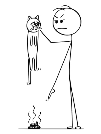 Cartoon stick figure drawing conceptual illustration of angry man holding cat in hand and pointing his finger at excrement,stool, poop or shit on the ground.