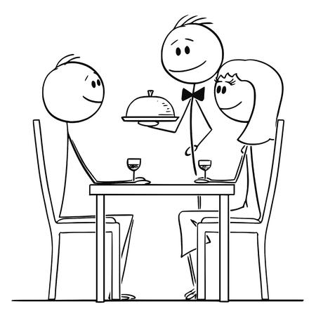 Cartoon stick figure dessin illustration conceptuelle d'un couple d'amoureux homme et femme assis derrière une table au restaurant et regardant le serveur servir de la nourriture. Vecteurs