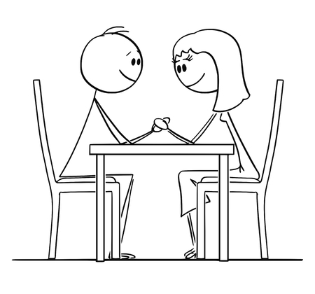 Cartoon stick figure drawing conceptual illustration of loving couple of man and woman sitting behind table in restaurant, holding hands and looking at eyes.