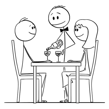 Cartoon stick figure drawing conceptual illustration of loving couple of man and woman sitting behind table in restaurant and watching waiter pouring wine in glasses. Illustration