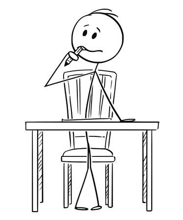 Cartoon stick figure dibujo ilustración conceptual del hombre sentado detrás del escritorio de oficina y tratando de escribir algo y pensando mucho con el lápiz en la boca. Ilustración de vector