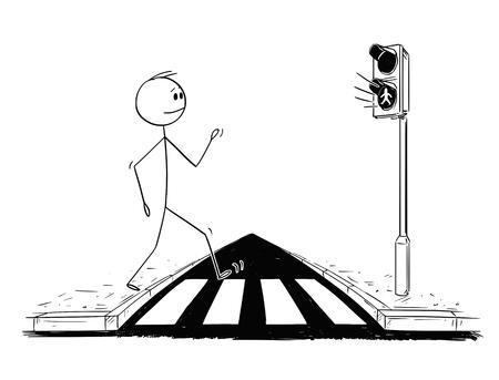 Cartoon stick figure drawing conceptual illustration of man walking on crosswalk or pedestrian crossing while green light is on on stoplights. 向量圖像