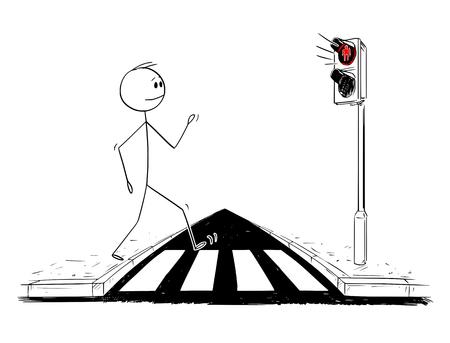 Cartoon stick figure drawing conceptual illustration of man walking on crosswalk or pedestrian crossing ignoring that red light is on on stoplights.