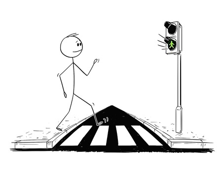 Cartoon stick figure drawing conceptual illustration of man walking on crosswalk or pedestrian crossing while green light is on on stoplights. Illustration