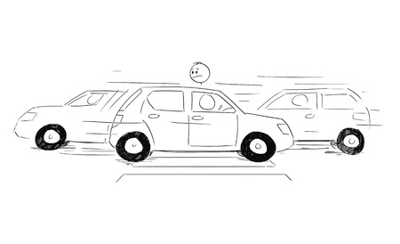 Cartoon stick figure drawing conceptual illustration of man waiting on crosswalk or pedestrian crossing and watching cars moving around and ignoring him.