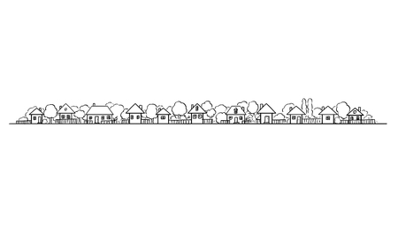 Vector artistic drawing and illustration of generic village or countryside buildings and gardens with trees in European style. Long horizontal design element.