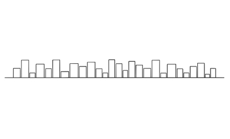 Vector artistic drawing and illustration of generic city buildings on horizon, simple cityscape. Long horizontal design element.