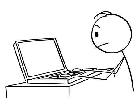 Vector cartoon stick figure dessin illustration conceptuelle d'un homme ou d'un homme d'affaires travaillant ou tapant sur un ordinateur portable ou un ordinateur portable.
