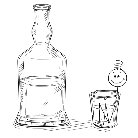 Vector cartoon stick figure drawing conceptual illustration of man taking bath in shot glass with hard liquor, spirits bottle standing near. Metaphor of alcoholism.