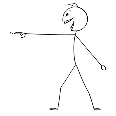 Vector cartoon stick figure drawing conceptual illustration of mad or crazy man or person pointing his finger and laughing. Vectores