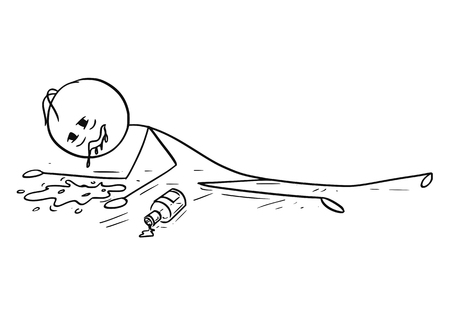 Cartoon stick figure drawing conceptual illustration of drunk or drunken man lying on the ground and vomit, throw up or puke.