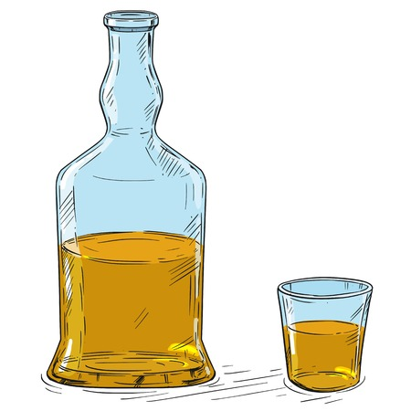 Vector cartoon illustration or drawing of half full hard liquor or whiskey bottle and shot glass.