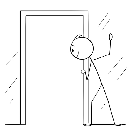 Vector cartoon stick figure drawing conceptual illustration of curious man or voyeur looking hidden through open door. Illustration