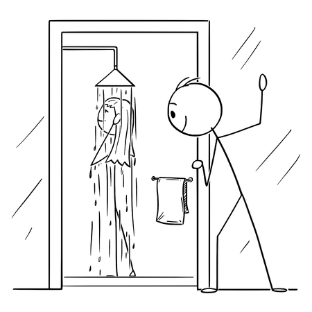 Vector cartoon stick figure drawing conceptual illustration of curious man or voyeur watching naked woman taking shower in bathroom. Illustration
