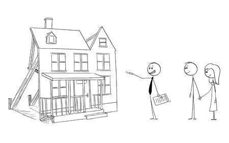 Vector de dibujos animados figura de palo dibujo ilustración conceptual de empresario o corredor de bienes raíces o agente u ofreciendo casa de familia falsa maqueta a pareja joven. Concepto de fraude o burbuja inmobiliaria.