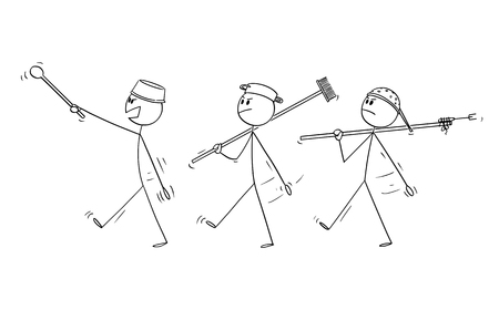 Vector cartoon stick figure drawing conceptual illustration of three adult men playing at soldiers and marching. Concept of war. Illustration