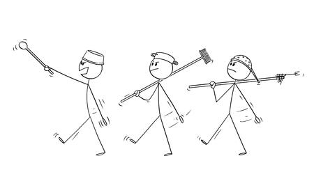 Vector cartoon stick figure dessin illustration conceptuelle de trois hommes adultes jouant aux soldats et marchant. Notion de guerre.