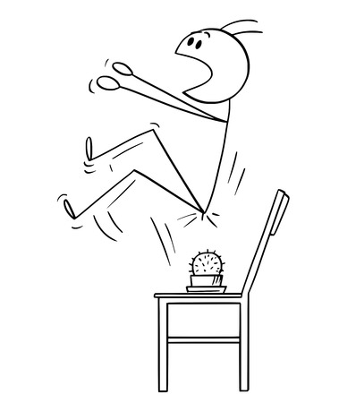 Vector cartoon stick figure drawing conceptual illustration of man who spring up when sit down on the cactus placed on the chair. Illustration
