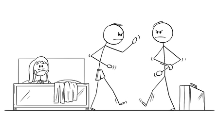 Vector cartoon stick figure drawing conceptual illustration of angry man or husband returned home and found his wife with paramour having in bed.Husband is going to fight with lover. Concept of infidelity.