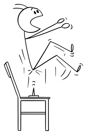 Vector cartoon stick figure drawing conceptual illustration of man who spring up when sit down on the thumbtack or drawing pin placed on the chair. Ilustração