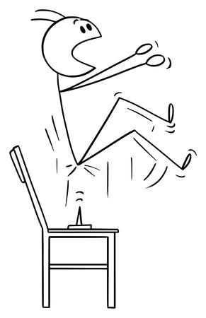 Vector de dibujos animados figura de palo dibujo ilustración conceptual del hombre que se levanta cuando se sienta en la chincheta o chincheta colocada en la silla.