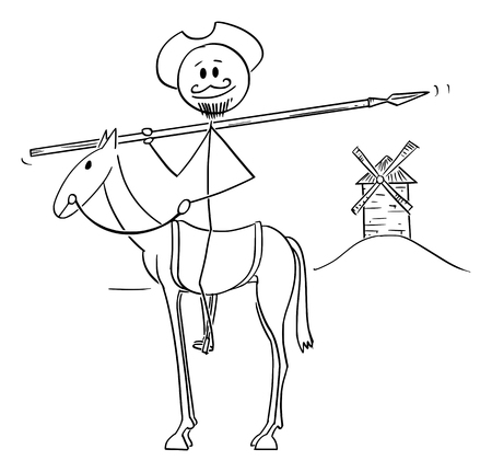 Vector cartoon stick figure illustration of knight on horse with windmill on background - Don Quijote, character from book The Ingenious Gentleman Sir Quixote of La Mancha, Miguel de Cervantes