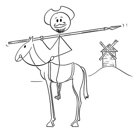 Vector de dibujos animados figura de palo ilustración de caballero a caballo con molino de viento en el fondo - Don Quijote, personaje del libro El ingenioso caballero Sir Quijote de La Mancha, Miguel de Cervantes