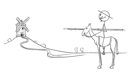 Vector de dibujos animados figura de palo ilustración de caballero a caballo con molino de viento en el fondo - Don Quijote, personaje del libro El ingenioso caballero Sir Quijote de La Mancha, Miguel de Cervantes Ilustración de vector