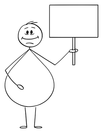 Vector cartoon stick figure drawing conceptual illustration of smiling overweight or obese man holding empty sign ready for your text.