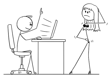 Vector cartoon stick figure drawing conceptual illustration of man sitting behind desk and working on computer, while woman or wife in lingerie is offering him or sex.
