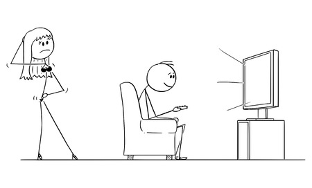 Vector cartoon stick figure conceptual illustration of man sitting in armchair and enjoying watching TV or television, while woman or wife in lingerie is offering him or sex.