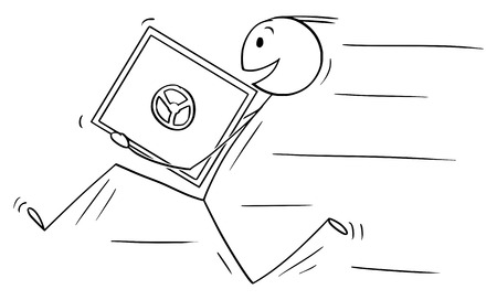 Vector cartoon stick figure drawing conceptual illustration of man or businessman thief smiling and running with bank vault or safe in hands.
