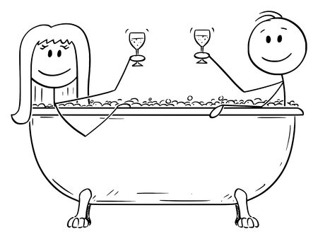 Vector cartoon stick figure drawing conceptual illustration of man and woman relaxing together in batch tub with glass of wine in hand.